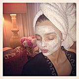 Miranda Kerr snapped a pic while indulging in an afternoon Kora Organics face mask. Source: Instagram user mirandakerr