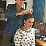 Exclusive Image of Danilo Doing Priyanka Chopra's Hair For the 2017 Emmy Awards