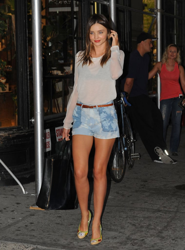 Miranda Kerr proved the denim staple can be a cool counterpoint for a sheer top and heels.