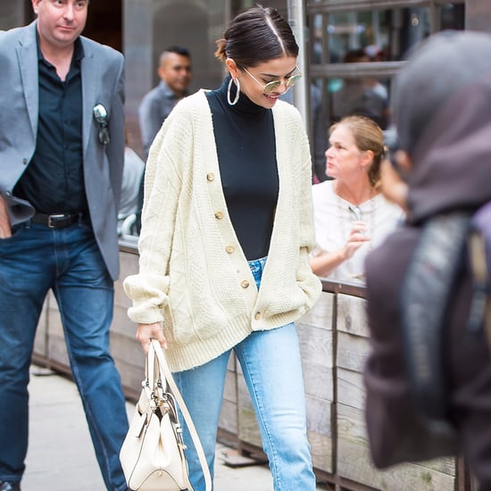 Selena Gomez Wearing Cream Cardigan in New York