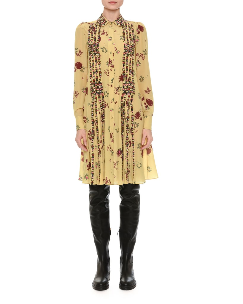 46bdb9b1d Valentino Beaded Floral-Print Shirtdress | Michelle Obama Wearing ...