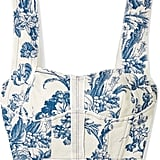 Oscar de la Renta Cropped Printed Cotton-Blend Bustier Top