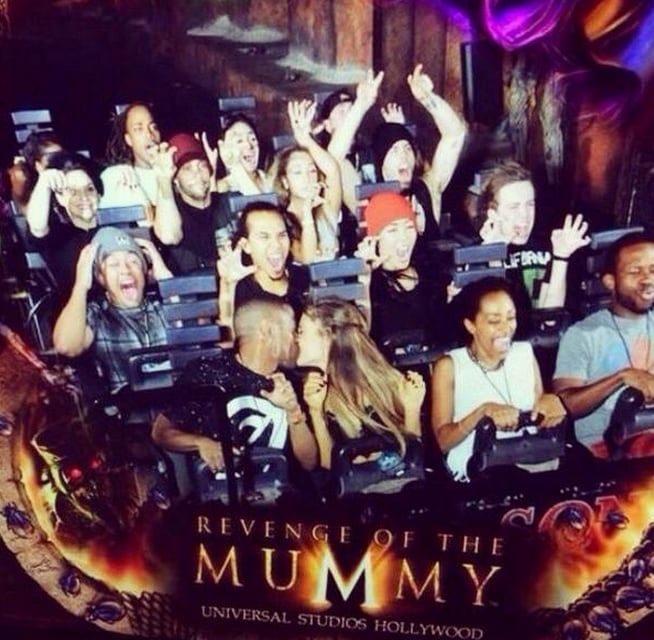 "Can we say that Big Sean and Ariana Grande are roller-coaster official? The young couple was spotted kissing in public for the first time when they shared a smooch while on Universal Studios Hollywood's Revenge of the Mummy ride. While their fellow riders were photographed screaming by the ride's cameras, Ariana and Big Sean decided to kiss instead of getting scared. The pair first went public with their romance when they were spotted holding hands backstage at the 2014 VMAs. Then, a day after their PDA, Ariana confirmed that the two were an item, telling Ryan Seacrest during an interview that they are seeing each other. ""I guess [we're dating],"" Ariana said. ""I don't know what to say, Ryan. Why are you doing this to me? I'll tell you. I'll tell you when we're not on the air. I trust you. I've known you a long time. I don't know about these millions of people listening in right now."""