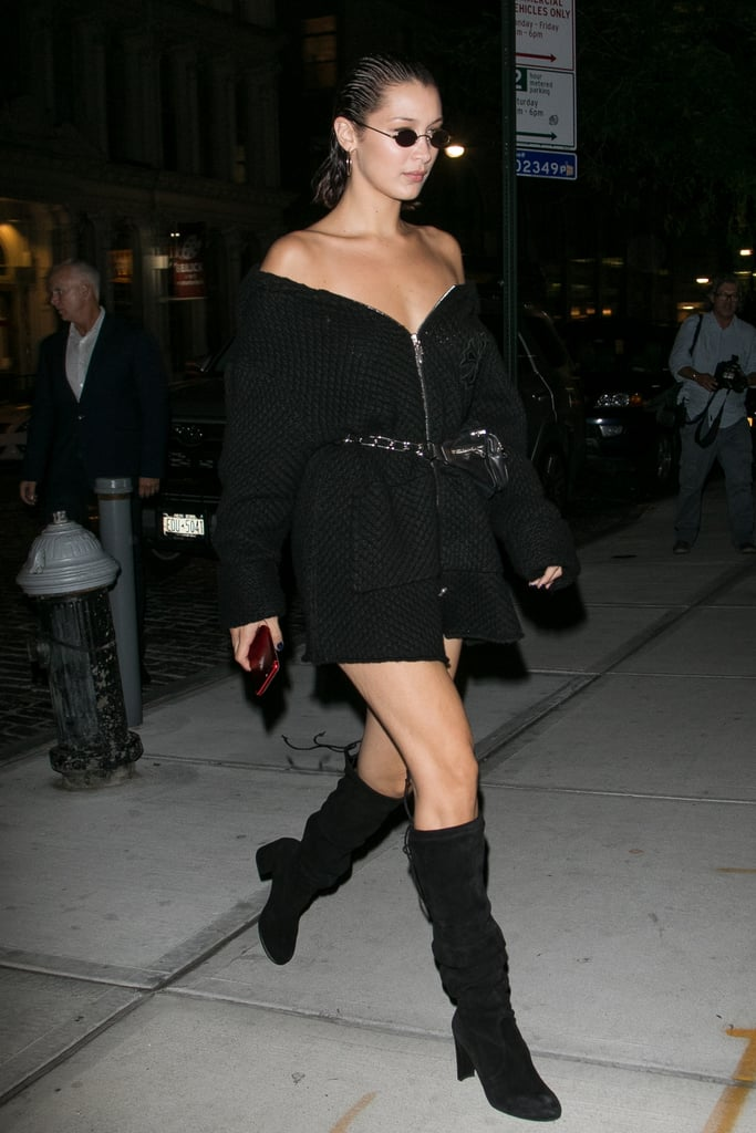 Bella Hadid Wore an Off-the-Shoulder Minidress With Stuart Weitzman Knee-High Boots