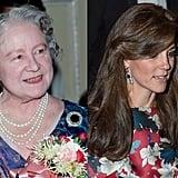 The Queen Mother Wearing Her Sapphire Earrings in 1986