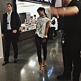 Rihanna made her way through the Barclays Center during the show. Source: Instagram user mtv