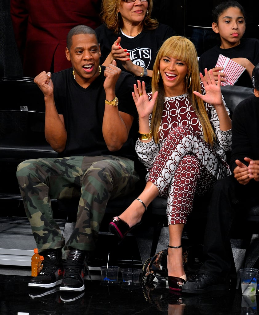 Jay-Z and Beyoncé Knowles cheered on the Brooklyn Nets as they played the Toronto Raptors in November 2012.