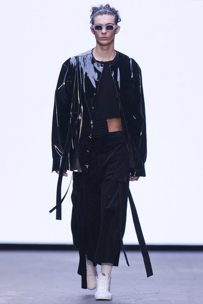 Source: JUSTIN TALLIS/AFP/Getty ImagesAnother London men's favourite (and friend) is Nicomede Talavera, using super oversized silhouettes, straps and logos for his AW'15 collection. It was a 90s/00s revival inspired by the modern and traditional wear of muslim boys when he was growing up.  Hair was spiked and short worn with fierce accessories of tiny round sunglasses and raver style pouches.