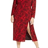 Leith Spatter Print Square-Neck Long-Sleeve Midi Dress