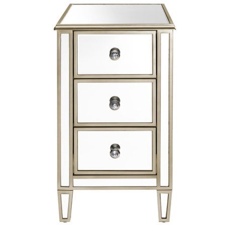 Accentrics Home Mirrored Chairside Table With Gold Trim