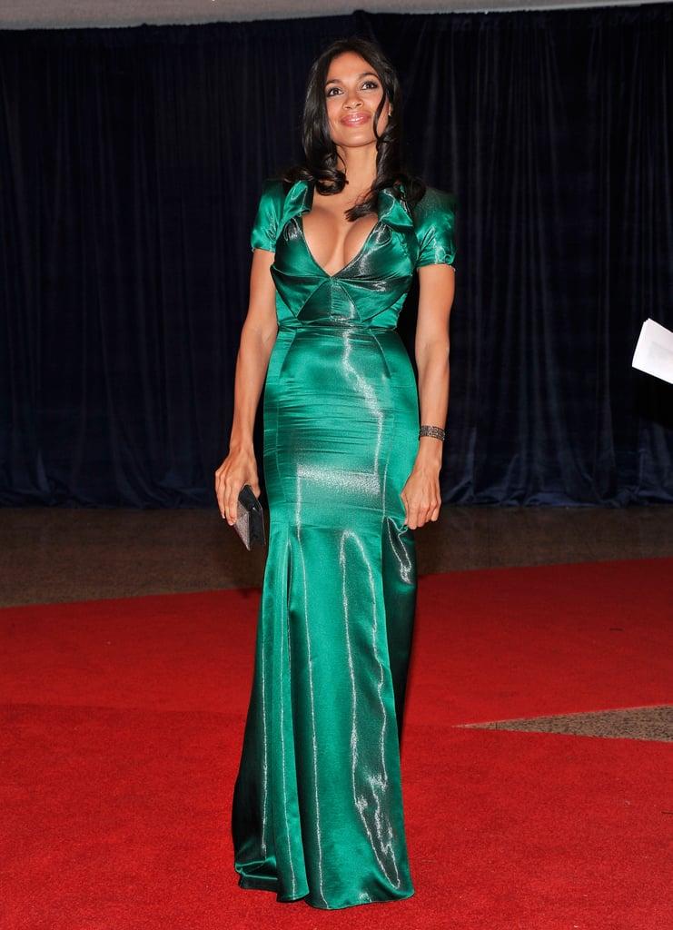 Rosario Dawson wore a gorgeous long green dress.
