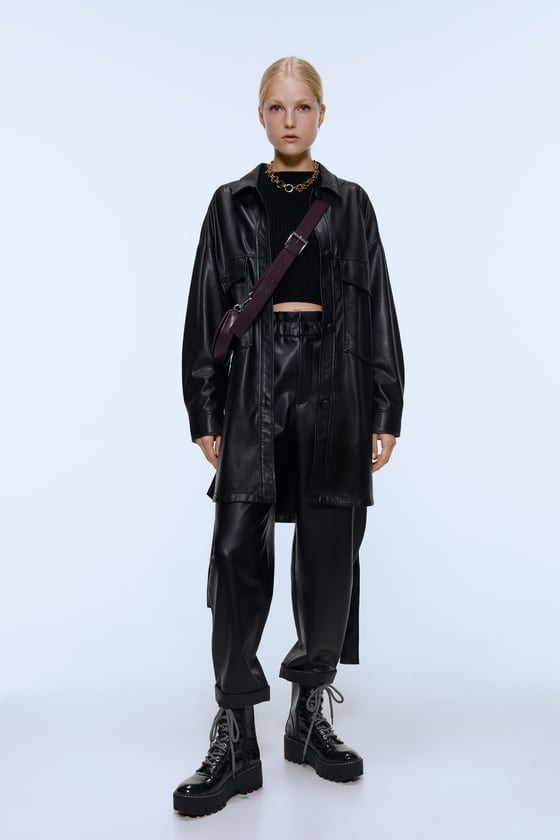 Zara Faux Leather Tapered Pants