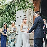 This bride dressed her bridesmaids in three different patterned blue dresses, with accents in cream, white, pink, and more.