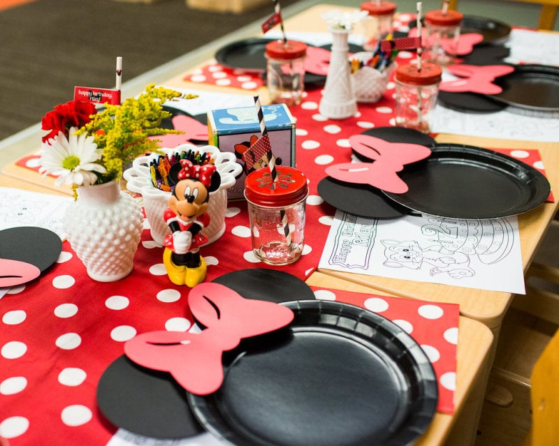 A red polka-dot runner set the tone for the kids' table.
