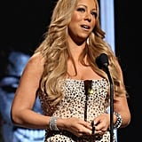 Mariah Carey accepted her award on stage at the BET Awards in LA.