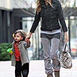 Tabitha held onto SJP's hand arriving at school.