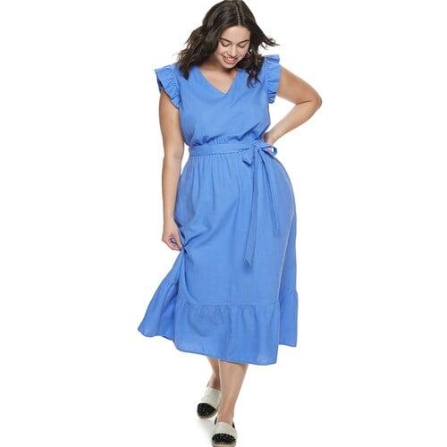 POPSUGAR Plus Size Belted Maxi Dress