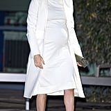 Meghan in a Calvin Klein Cream Dress