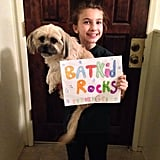 He's even got four-legged fans . . .  Source: Facebook user Batkid Photo Project