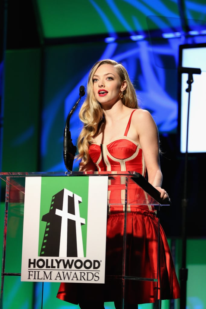 Amanda Seyfried wore a red dress at the the Hollywood Film Awards gala in Los Angeles.