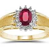 Etsy Ruby and Diamond Flower Ring 10k Yellow Gold