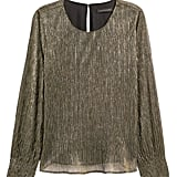 Metallic Smocked-Sleeve Blouse