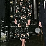 In Feb. 2018, Kate braved the snowy weather in an Orla Kiely floral dress and Gianvito Rossi pumps. She accessorized with Kiki McDonough earrings and a beige Jimmy Choo clutch.