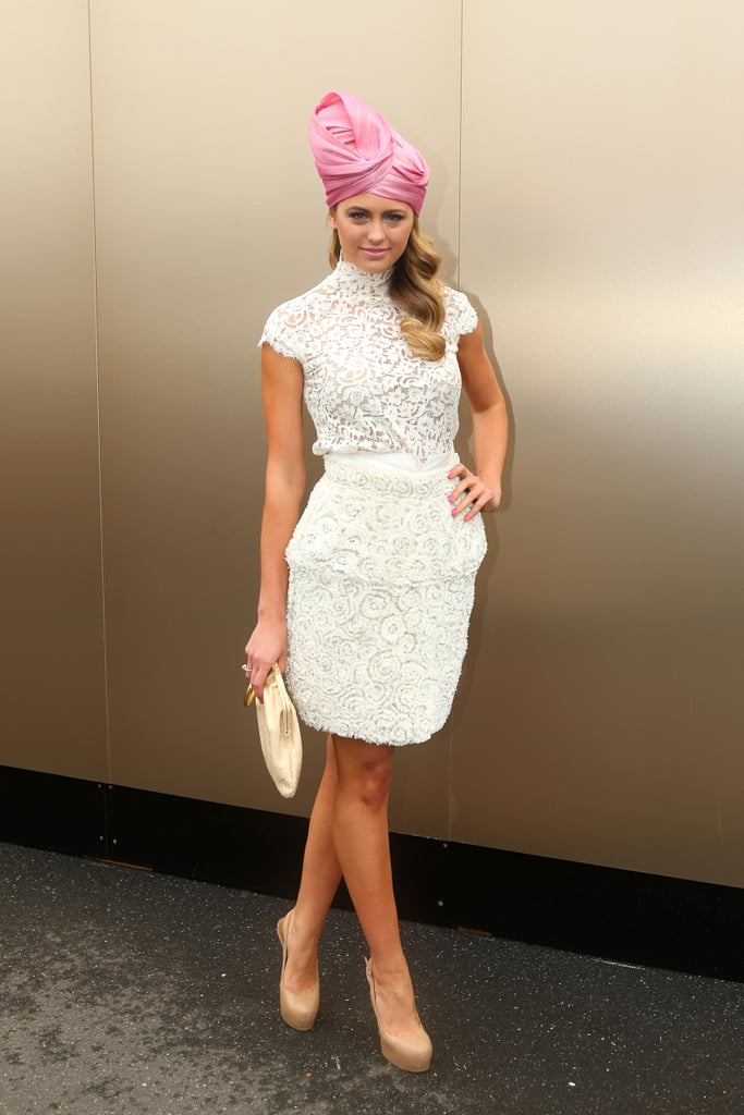 Jesinta Campbell Wraps It Up in a Turban at the Melbourne Cup