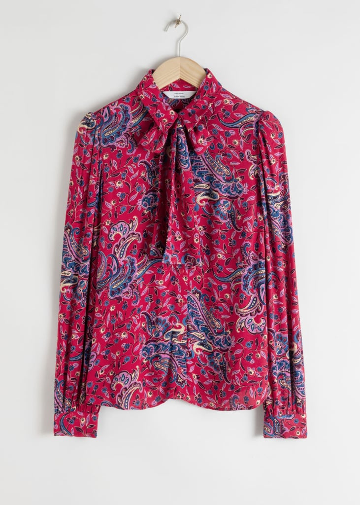 & Other Stories Paisley Pussy Bow Blouse