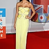 Nicole Sherzinger opted for hot yellow.