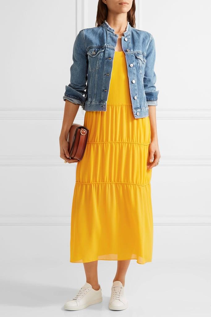 Maje Tiered Crepe Midi Dress