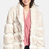 Via Spiga Shawl Collar Faux Fur Jacket