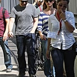 Penelope Cruz and Javier Bardem walking in Rome.