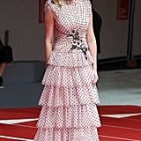 For the 2017 Venice Film Festival, Kirsten wore a pink, ruffled Rodarte tier dress.