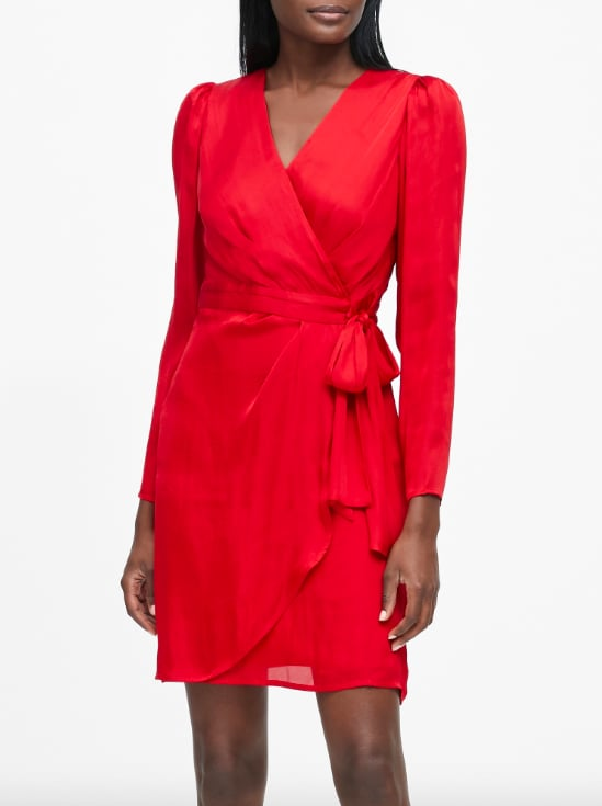 Petite Puff-Sleeve Wrap Dress
