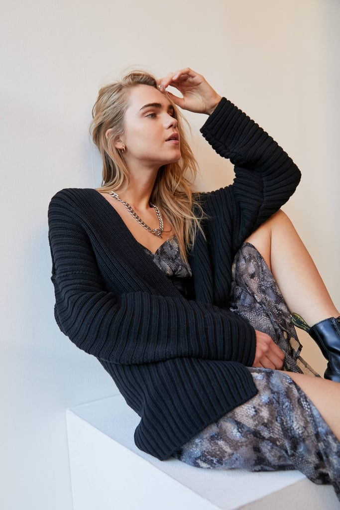 UO Leo Ribbed Open-Front Cardigan