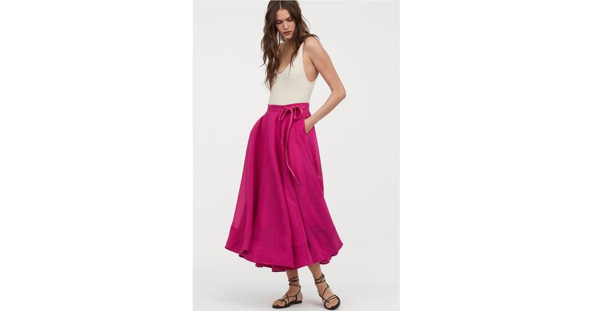 c67d37e004 H M Lyocell-Blend Wrapover Skirt