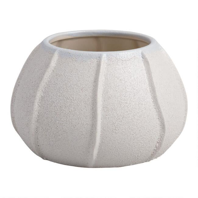 White Sand Ridged Seashell Ceramic Planter
