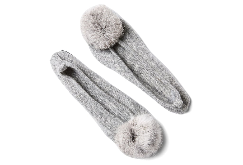 Fur Pom-Pom Slipper With Pouch, Gray ($69)
