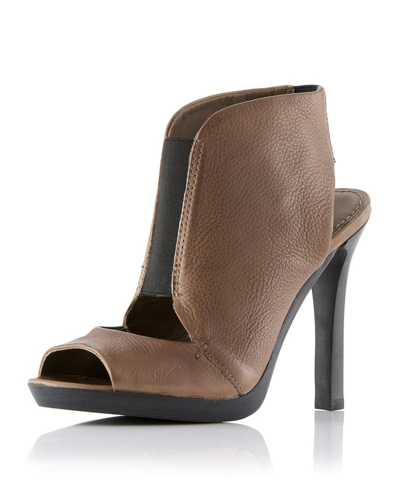 These 7 For All Mankind's Mariah Open-Toe Booties ($149, originally $245) have a cool two-tone effect.