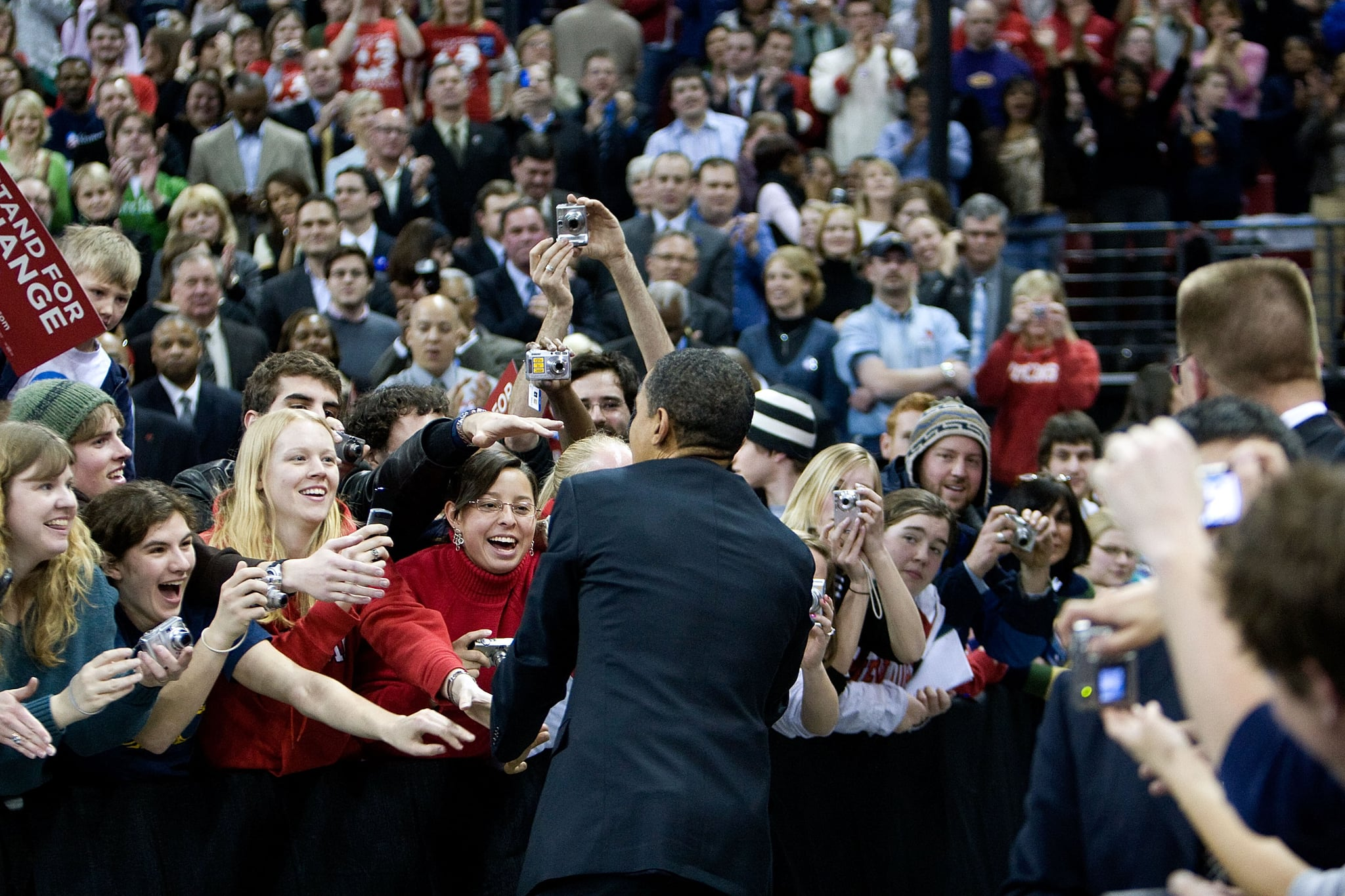 Last week Obama attended a rally at the University of Wisconsin. Trying to get out the youth vote!