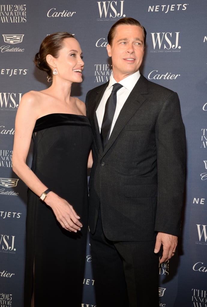 It's been a busy week for Brad Pitt and Angelina Jolie! The couple, who showed off their love at a screening of their film By the Sea in NYC on Tuesday night, were back on the red carpet for the WSJ Magazine Innovator Awards at the Museum of Modern Art on Wednesday. The couple kept things a bit more serious for the cameras, though they lit up when they ran into other celebrity guests, including Anna Wintour and Robert De Niro, whom Brad starred with in the 1996 hit Sleepers and Angelina worked with on 2006's The Good Shepherd. Brad and Angelina were seated with Robert and his wife, Grace Hightower, inside the event. The excitement will continue for Brad and Angelina on Thursday, when they premiere By the Sea during the AFI Fest in the Big Apple.