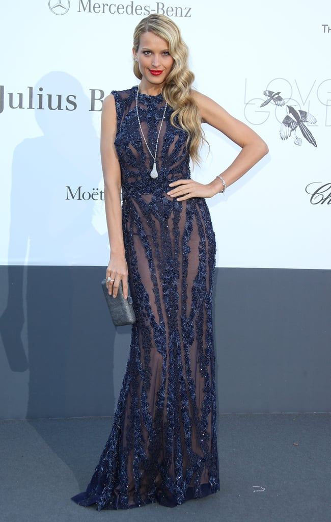 bc651d37db9 Petra Nemcova vamped in her navy sequined sheer Elie Saab gown ...