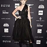Gigi Working It in a Vivienne Westwood Dress and Edgy Boots at the Harper's Bazaar Icons Party