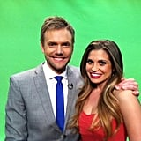 Joel McHale posed with Danielle Fishel on the set of The Soup. Source: Twitter user daniellefishel