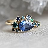 Pear Shaped Blue Sapphire Engagement Ring