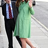 For an appearance at the Royal Society of Medicine in March, Kate wore a pistachio-coloured coat by Jenny Packham and Gianvito Rossi pumps.