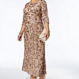 Alex Evenings Sequined Lace Rosette Gown
