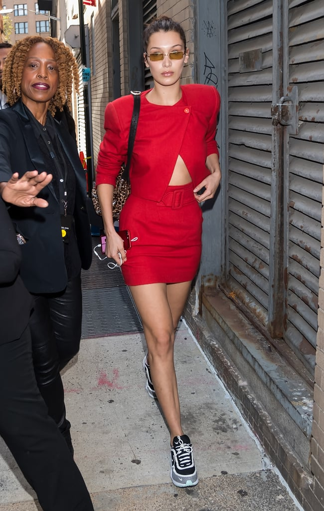 Bella Hadid Wore a Red Power Suit and Linda Farrow Sunglasses