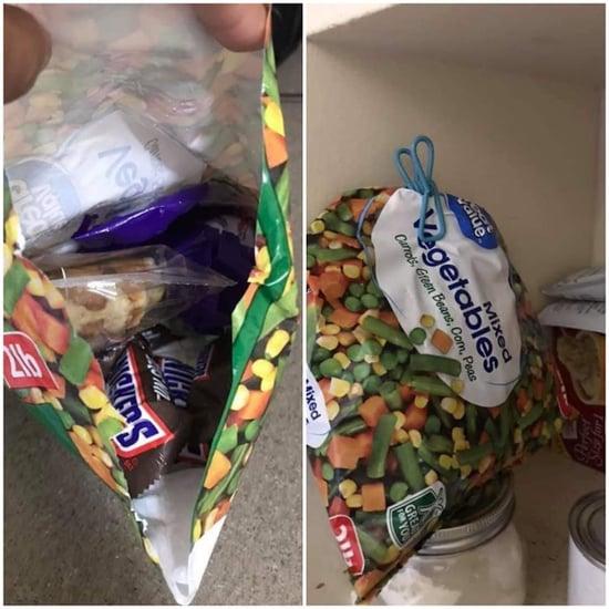 Mom Hides Halloween Candy Inside of Frozen Vegetable Bag